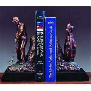 "Golfer's Book Guild Award. (Set of 2 pieces). 9""h x 9""w x 3-1/2""d."