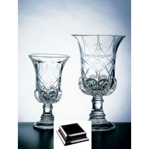 "Genoa Vase on a Black Base - Italian Lead Crystal (15 3/4""x8""x8"")"
