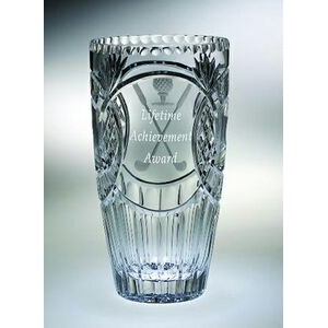 "Fairway Barrel Award Vase - Lead Crystal (12""x6 1/2"")"