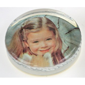 Personage-of-the-Year Scalloped Edge Glass Photo Paperweight - Molded Glass