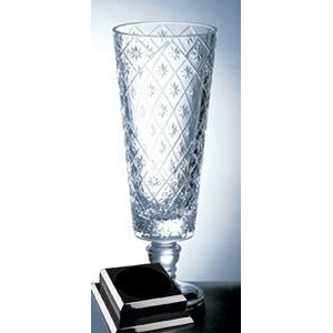 "Diamond Net Vase on a Black Base - Italian Lead Crystal (16 1/4""x8"")"
