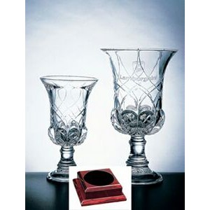 "Genoa Vase on a Rosewood Base - Italian Lead Crystal (12 3/4""x7""x7"")"