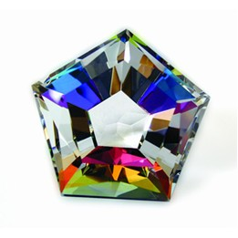 "Pentagon Rainbow Paperweight -Dichroic Optic Crystal (1 3/4""x2""x2 1/4"")"