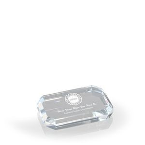 Clipped Corner Rectangle Paperweight - Optic Crystal