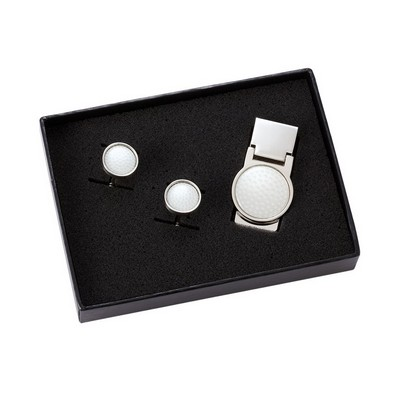 Golf Ball Money Clip and Rounded Golf Ball Cufflink Set with Gift Box