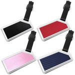 Custom Stainless Steel Rectangular Luggage Tag With Carbon Fiber Pattern & Leather Strap