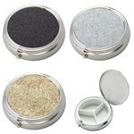 Custom Silver Round-Shaped 3-Compartments Pill Box with PU Leatherette Glitter Pattern