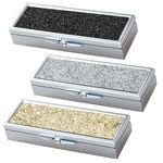 Custom Silver Retangular 3-Compartments Pill Box with PU Leatherette Glitter Pattern
