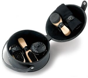 5 Piece Shoe Shine Deluxe Round Gift Set in PU Leatherette Case