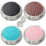 Custom Silver Round-Shaped 3-Compartments Pill Box with PU Leatherette Crocodile Pattern