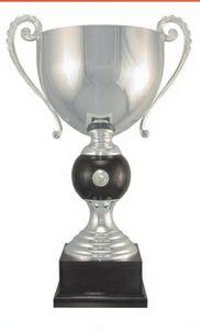 Silver Plated Italian Trophy Cup Award w/ Black Base & Stem Ball (18 1/2)