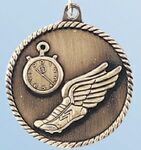 Custom Track Metallic Finish Stock Medal w/ Winged Shoe (2