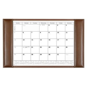 "Rustic Brown Leather Side-Rail Desk Pad with Calendar (34""x20"")"
