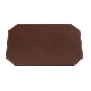 Custom Chocolate Brown Cut Corner Leatherette Rectangular Place Mat