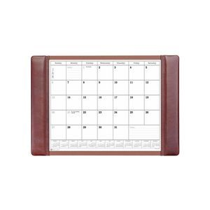 "Mocha Leather Side-Rail Desk Pad with Calendar (25.5""x17.25"")"