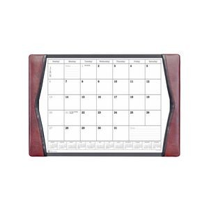 "Burgundy Leather Side-Rail Desk Pad with Calendar (25.5""x17.25"")"