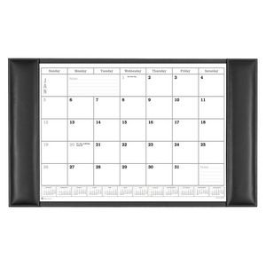 "Rustic Black Leather Side-Rail Desk Pad with Calendar (34""x20"")"