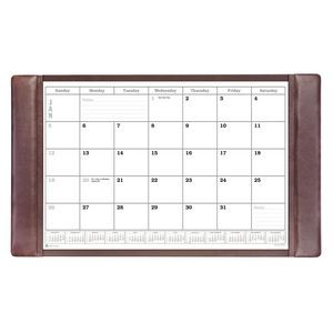 "Chocolate Brown Classic Leather Side-Rail Desk Pad with Calendar (34""x20"")"
