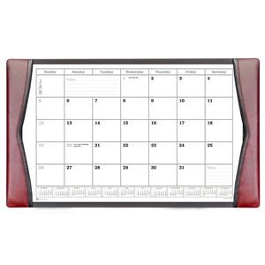 "Burgundy Classic Leather Side-Rail Desk Pad with Calendar (34""x20"")"