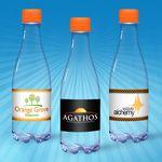 Custom 12 oz. Spring Water, Clear Glastic Bottle w/ Orange Cap