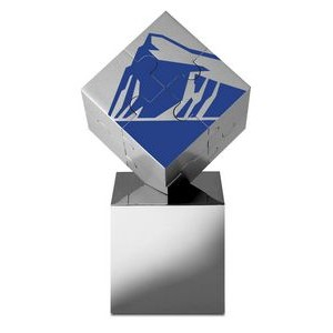Stainless Steel Magnetic Cube Puzzle & Display Stand, Elegant-Fun Gift/Award EQP-5 % deduct below