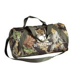 Custom 600D poly duffle featues side zip pockets & detachable/adjustable shoulder strap