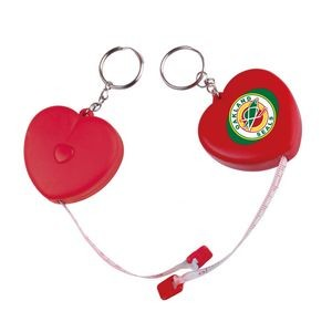 "3"" Heart Tape Measure w/ Key Chain (Digital Full Color Process)"