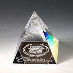 Custom Awards-Pyramid shaped paperweight optical crystal award.2-5/8 inch high