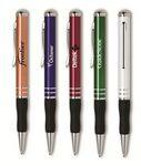 Custom The Metal Collection Twist Action Ballpoint Pen w/ Black Rubber Grip