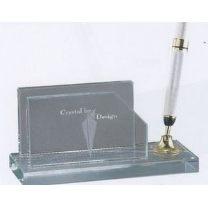 Jade Glass Business Card Holder w/ Silver Pen & Funnel
