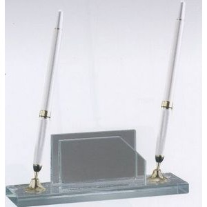 Jade Glass Pen Set & Business Card Holder w/ 2 Silver Pens & Funnel