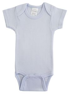 Custom Blue Rib Knit Short Sleeve Onezie