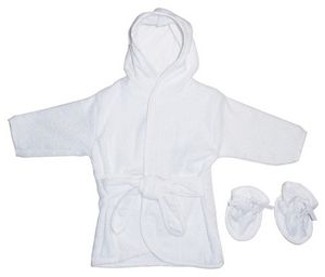 Custom All White Terry Hooded Bath Robe w/ Booties