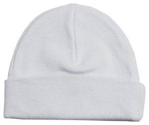 Custom White Rib Knit Beanie Cap