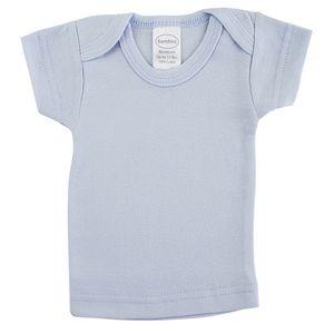 Custom Blue Rib Knit Short Sleeve Lap T-Shirt