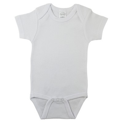 White Rib Knit Short Sleeve Onezie