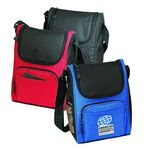 Custom Deluxe Insulated Poly Lunch Bag Cooler w/ Shoulder Strap & Pockets