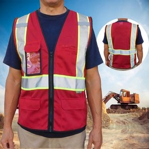 Non-ANSI, Red Safety Vest with Multi Pockets