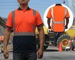 Custom Safety Polo Shirt ANSI Class 2 Neon Orange