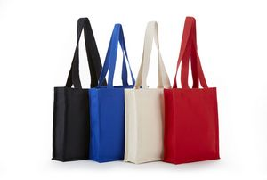 Heavy Cotton Canvas Book Tote with Full Side & Bottom Gusset - 10x12x3