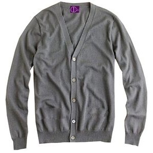 Classic Men/Unisex V-neck cardigan, Acrylic, Fine gauge. Made in USA