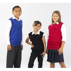 V-Neck Vest, school uniforms, youth sizes XS-XL. Made in USA