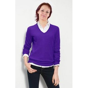 Custom Colors Women's V-neck Pullover. Acrylic. Fine gauge. Made in USA