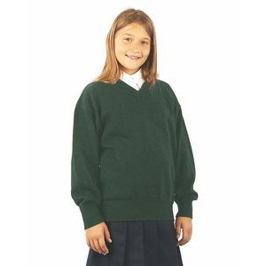 Youth sizes V-Neck Long Sleeve Pullover. School uniforms. Made in USA