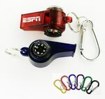 Custom Whistle with Compass Thermometer and Split Ring and Carabiner