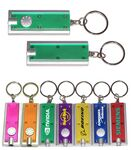 Custom Slim Rectangular Flashlight with Swivel Key Chain (Translucent Green)