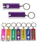 Custom Slim Rectangular Flashlight with Swivel Key Chain (Translucent Purple)