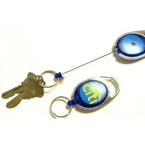 Oval Shape Retractable Key Holder with Carabiner Clip and Key Ring