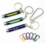 Custom Dual Laser Pointer/ Super Bright LED Light with Keychain and Carabiner