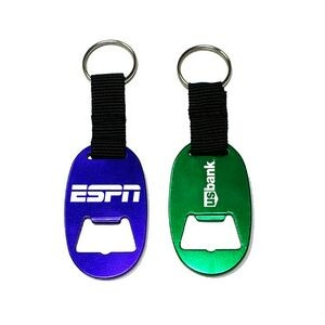 Jumbo Size Oval Shape Bottle Opener with Strap & Key Chain